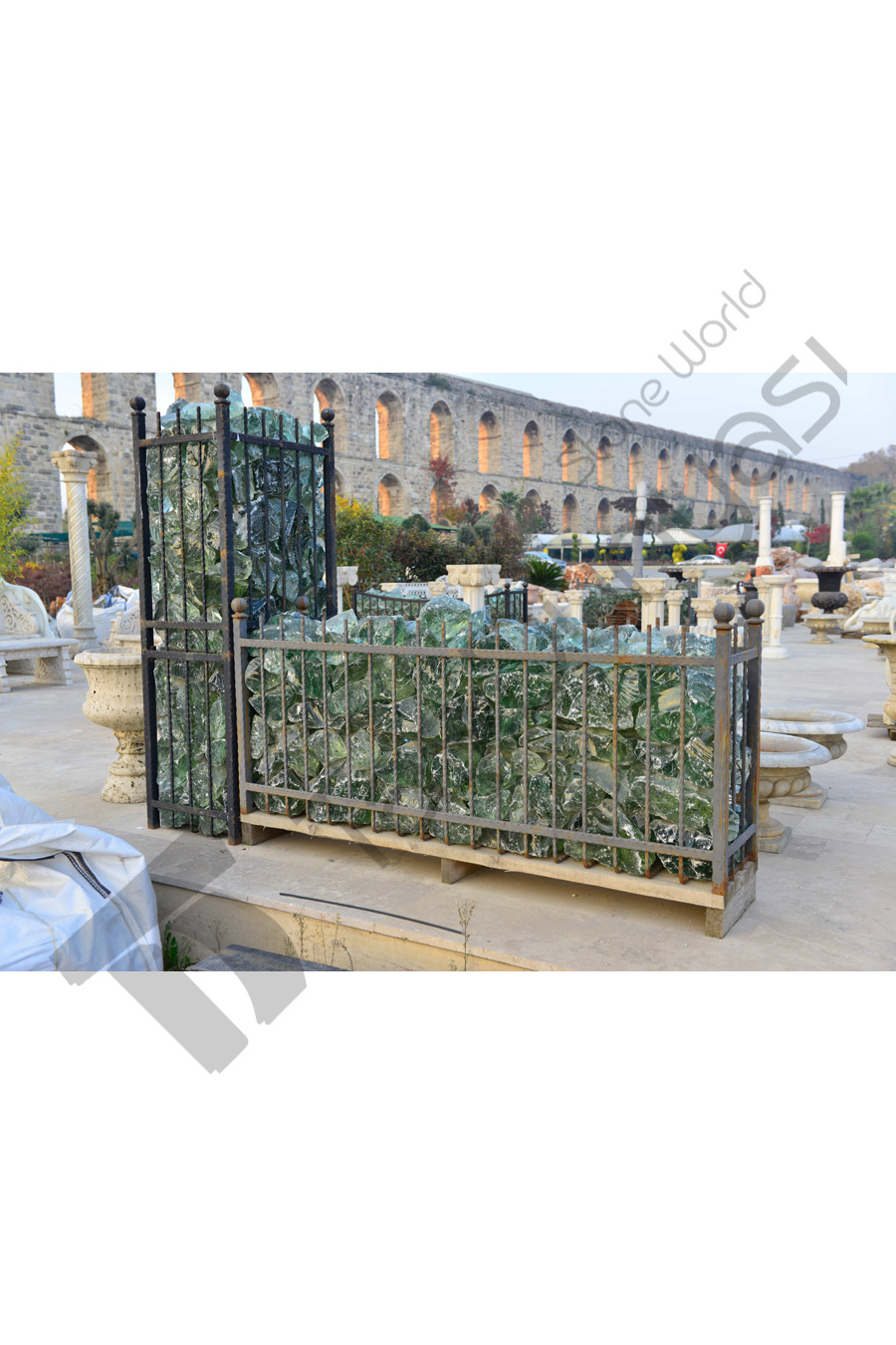 Moss Green Wrought Iron Cage With Glass Filling