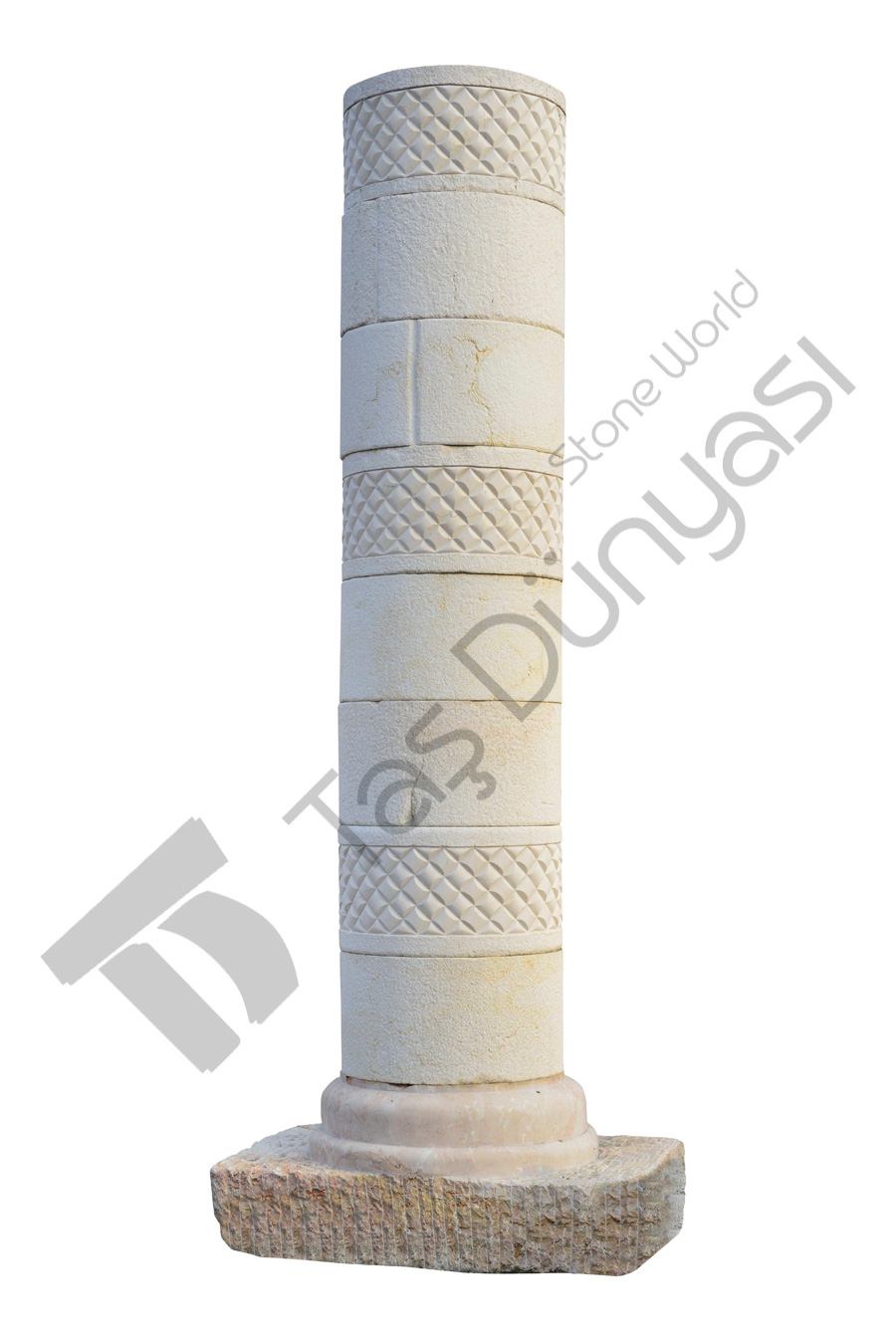 Diamond Embossed Marble Pillar